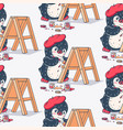 seamless pattern with cute penguin artist vector image