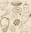 set sketch easter icons vector image vector image