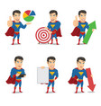 set superhero characters with presentation poses vector image