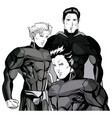 set three cartoon superhero wearing fancy costumes vector image