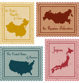 set vintage stamps2 vector image
