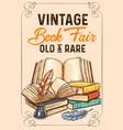 sketch poster old rare vintage books vector image vector image