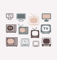 tv icons in retro style set vector image vector image