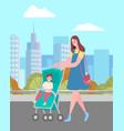 woman walking with bain pram on city street vector image vector image