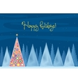 Beautiful Chrismas tree winter flat landscape vector image