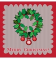 Vintage Christmas card with holly berry vector image