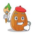 artist almond nut character cartoon vector image