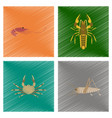 assembly flat shading style shrimp vector image