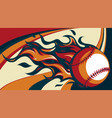 baseball with flames on colored background vector image vector image