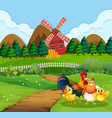 chicken family at farmland vector image