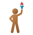 Child With Freedom Torch Gradient Icon vector image vector image