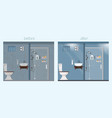 clean and dirty bathroom interior with furniture vector image vector image