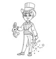 cute boy in magician costume with a hare vector image vector image