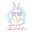 cute rabbit sketch children print on t-shirt vector image