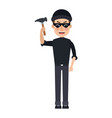 cyber hacker holding hammer broken security vector image