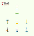 flat icon mop set of broom besom mop and other vector image