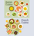 french and italian cuisine dinner icon set vector image vector image