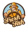 fresh fish fisherman at the helm of a fishing vector image vector image