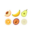 fresh tasty organic fruits and vegetables set vector image vector image