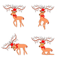 Funny christmas deers on a white background vector image