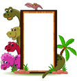 funny dinosaur with blank sign vector image vector image