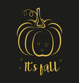 halloween card with pumpkin isolated on black vector image