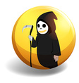 Halloween devil on yellow badge vector image vector image