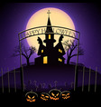happy halloween design with haunted house vector image vector image