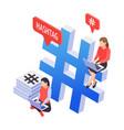 hashtag isometric icon vector image