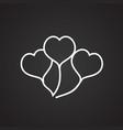 heart shape air balloon thin line on black vector image