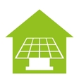 house with panel solar isolated icon design vector image