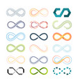 infinity colored symbols abstract shapes of vector image vector image