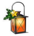 lantern with candle and twigs spruce and vector image vector image