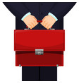 man holding red budget briefcase on vector image