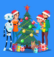 robot helps to decorate christmas tree for happy vector image vector image