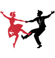 Rockabilly couple dancing silhouette vector image vector image