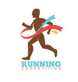 running competition logo label with male athlete vector image