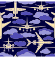 seamless pattern with passenger airplanes 02 vector image vector image