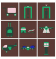 set of icons in flat design for airport vector image vector image