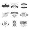 set wedding badges retro vintage typographic vector image