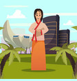 singapore woman landmark background poster vector image vector image