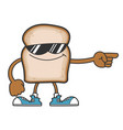 slice bread cartoon character with sunglasses vector image vector image