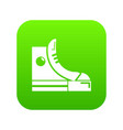 sneakers hipster shoes icon green vector image
