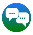 speech bubbles sign white icon in bluish vector image vector image