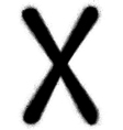 sprayed X font graffiti in black over white vector image vector image