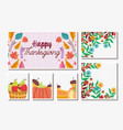 thanksgiving cards set food and foliage leaves vector image