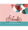 Valentines card with tandem bicycle vector image