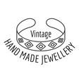 vintage hand made jewellery logo outline style vector image