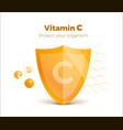 vitamin c concept 3d shield with molecule vector image