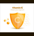 vitamin c concept 3d shield with molecule